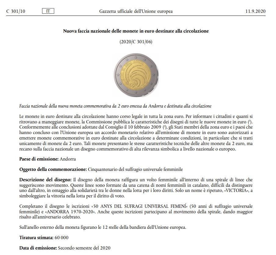 2 Euro commemorativo Andorra 2020, estratto della gazzetta dell'Unione europea